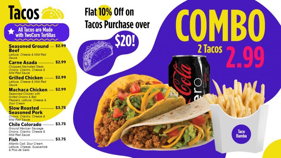 Download Combo Tacos Menu for Restaurants