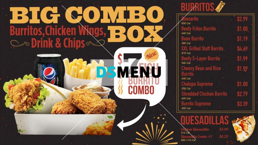 Download Combo Menu Board for take away restaurant