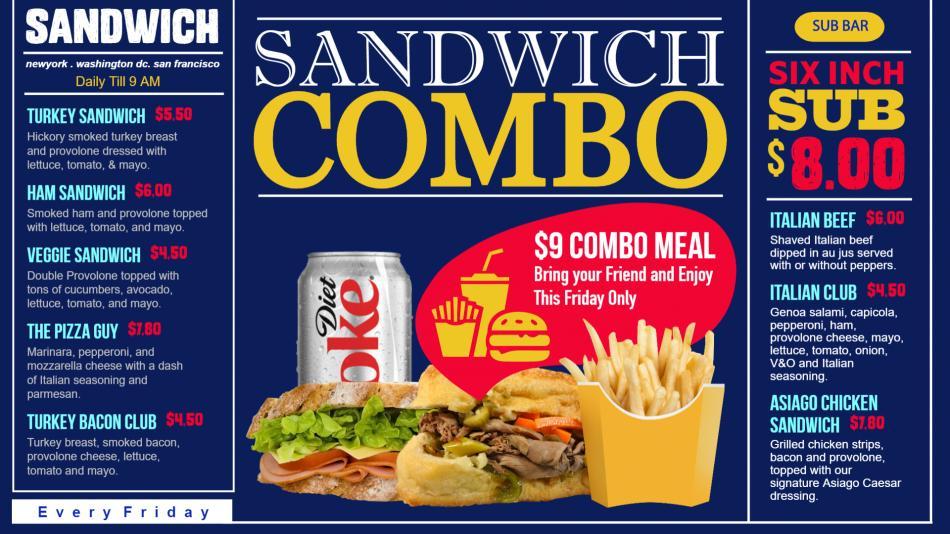 Digital Signage Sandwich Combo Menu for Restaurant
