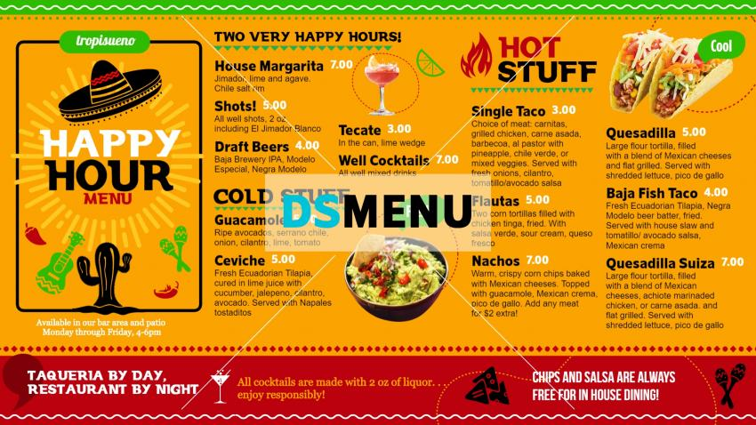 Mexican Happy Hour Menu for Digital signage