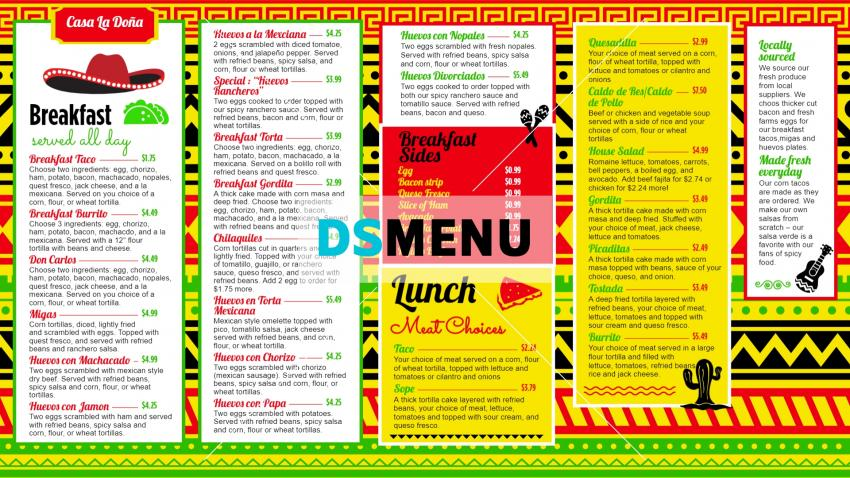 Download free Mexican Menu Board template