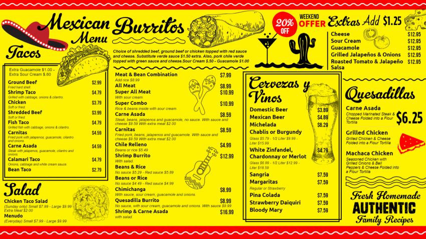 Yellow Mexican Menu Design for Restaurants