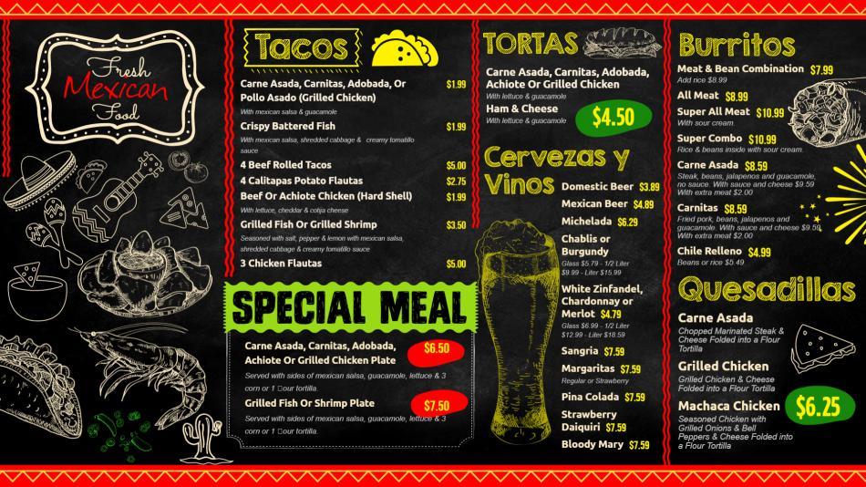 Mexican Chalk Board menu for restaurants