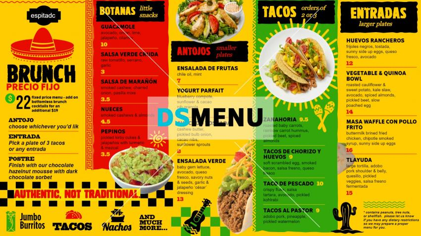 Mexican Brunch Menu Design