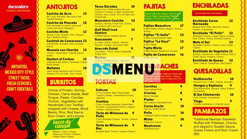 Bright Mexican Lunch Menu for Digital Signage