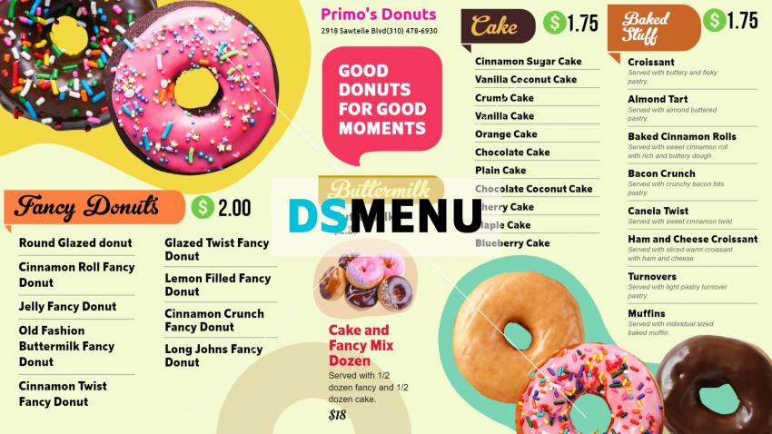 Nice Donuts Menu Design for digital signage