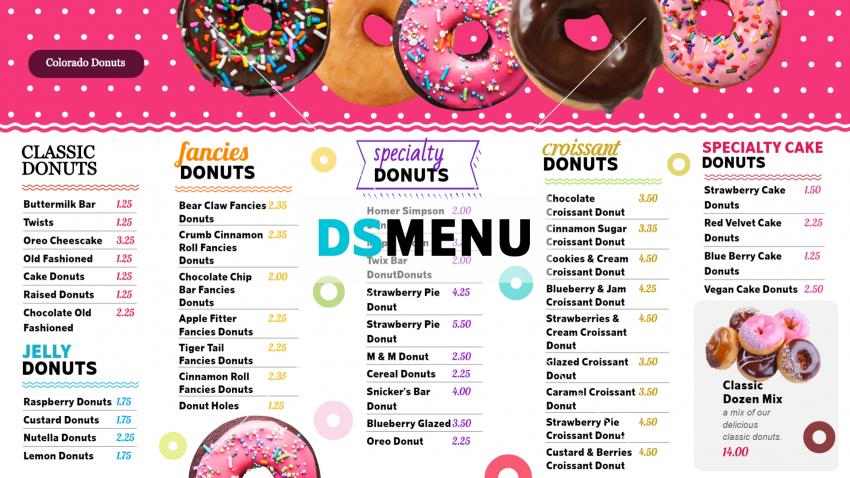 Trendy and colorful donuts menu design