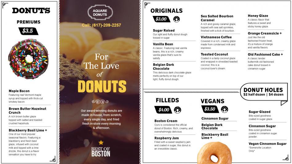 Simple donuts Menu Template