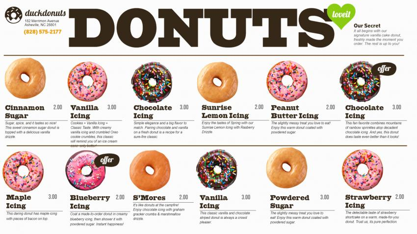 Beautiful  donuts menu for digital signage