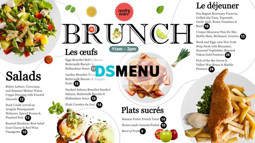 Best Brunch Menu Design for Digital Signage for digital signage