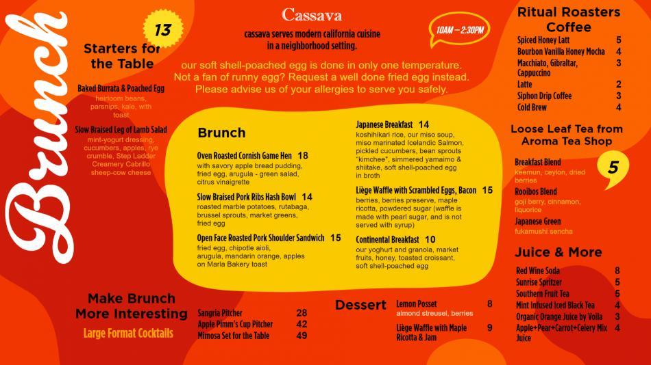 Brilliant Brunch Menu Design for digital signage