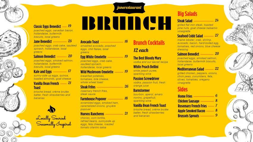 Bright Brunch Menu Design for Digital Signage