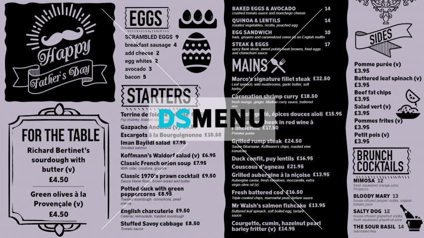 Best Father's day special Menu template for digital signage