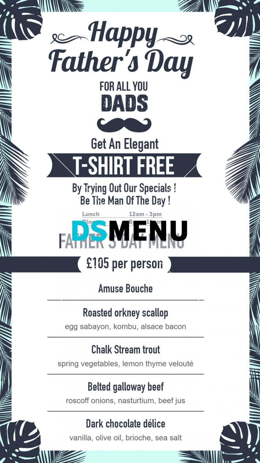 Best Father's day special Vertical Menu for digital signage