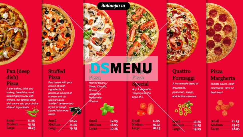 Best Pizza Menu Design for Digital Signage