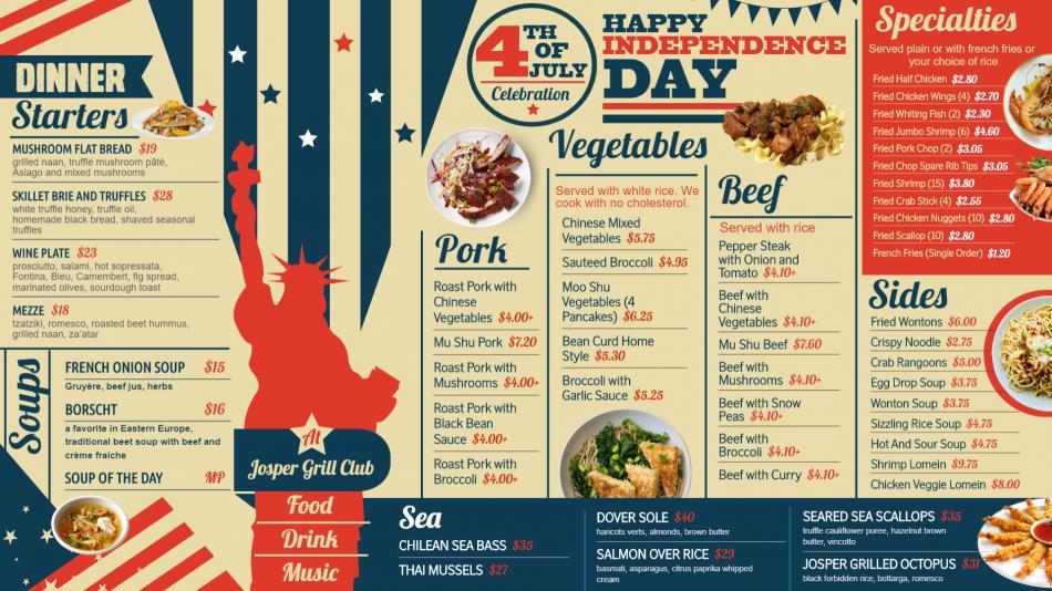 Nice Independence Day Signage Menu for Restaurant