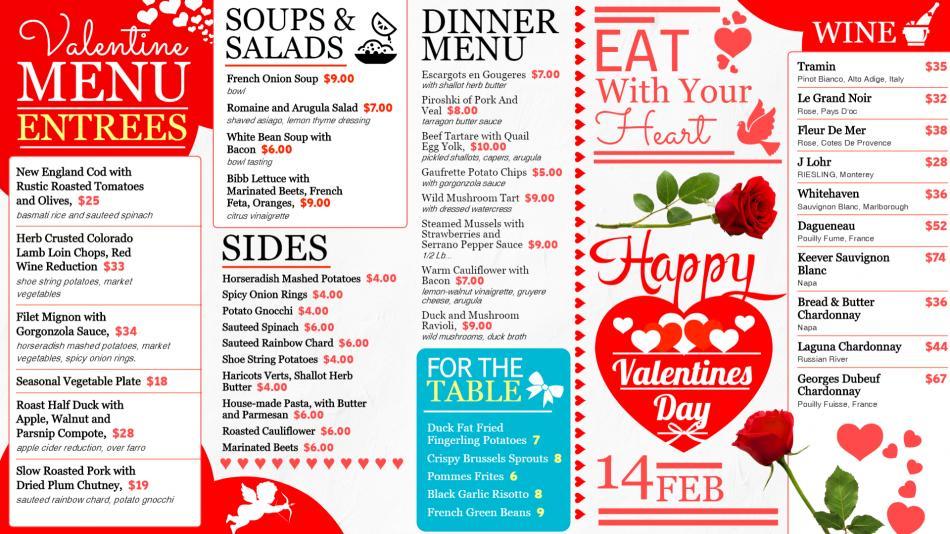 White Happy Valentine's day Signage menu for restaurants