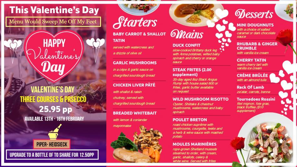 Valentine's day Digital Signage menu for restaurants