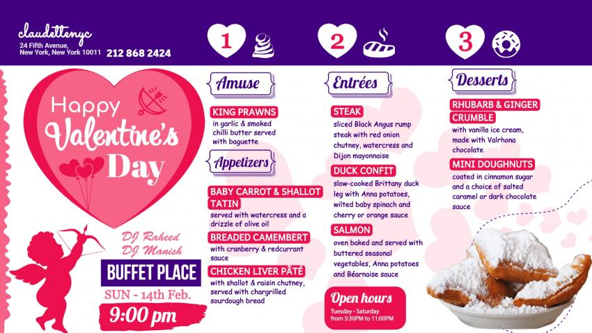 Happy Valentine's day Signage menu for restaurants